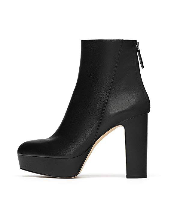 Zara Women Leather high-heel platform