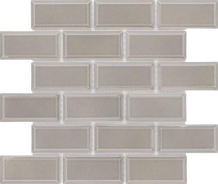Subway Tile 2×4 Glossy Taupe Gray Beveled