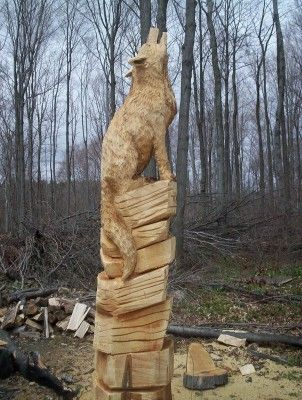 Howling Wolf- Chain Saw Art