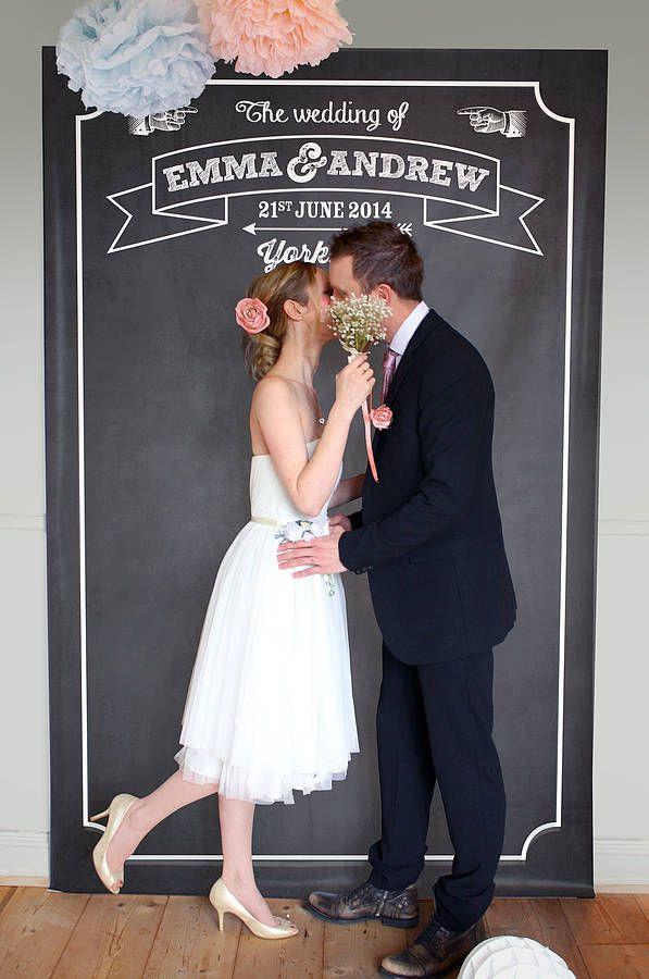 Personalised Chalkboard Wedding Backdrop from notonthehighstreet.com