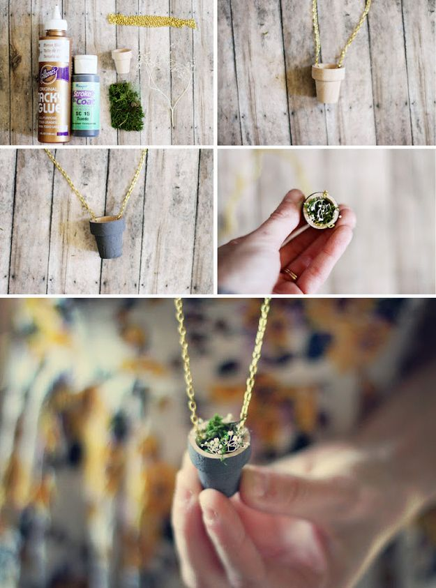 .:* L - lovely DIY Flower Pot necklace that isnt too over the top. Wear a tiny flower pot around your neck. | 33 Irresistibly Spring DIYs