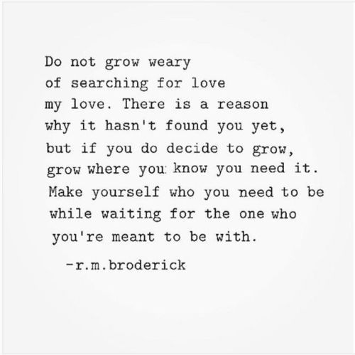 Do not grow weary of searching for love, my love.