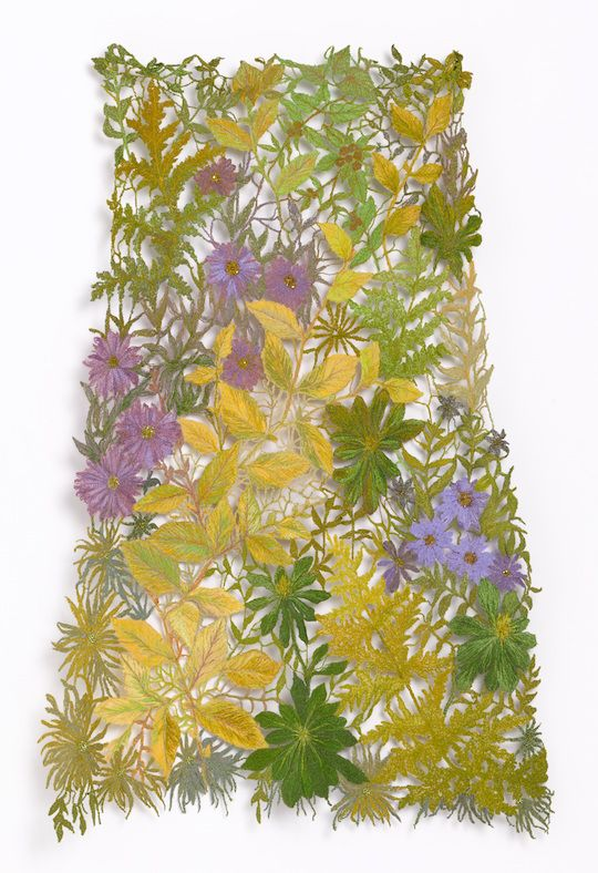 Sue Rangeley: 'Autumnal Lace' – Panel of machine embroidered lace Private Commission. Photo credit Michael Wicks