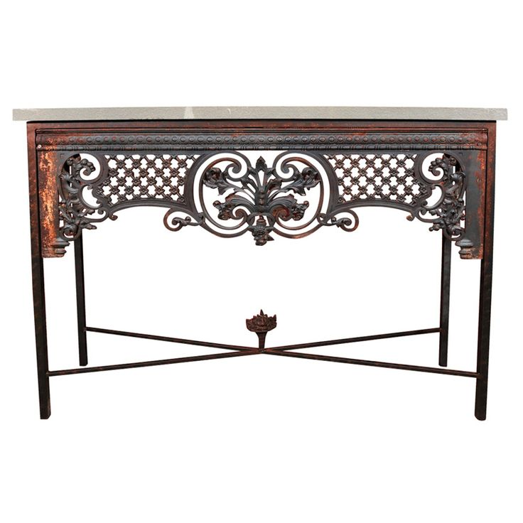 Lovely French Cast Iron Console Table With Blue Stone Top | From A Unique  Collection Of Antique