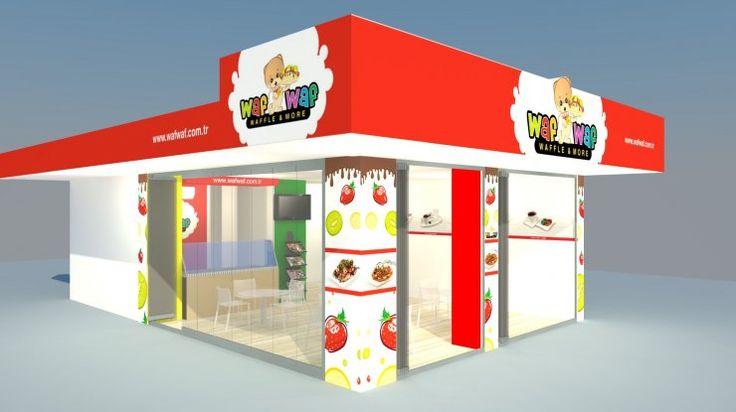Waf Waf için hazırlanan renkli bir restoran tasarımı.
