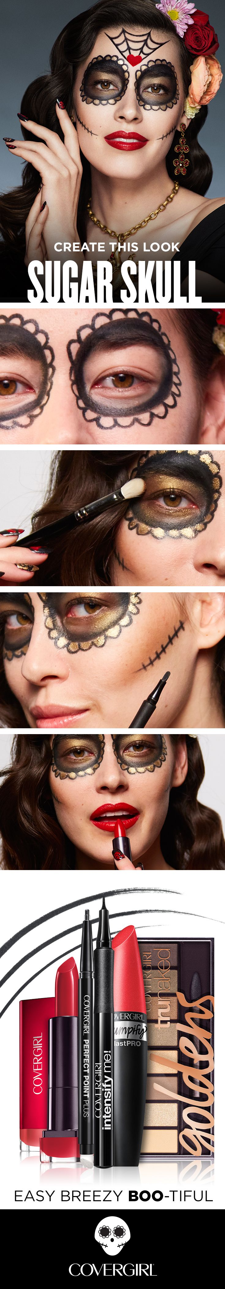 "Follow this DIY guide to transform into the Sugar Skull, inspired by the Mexican Day of the Dead, ""Dia de los Muertos."" Start with Clean Matte BB Cream for a perfect canvas. Then, use both Intensify Me! and Perfect Point Plus Eyeliners to draw lacey designs on the face. Add Plumpify Mascara for length. Fill it in with a range of shadows from the truNaked Goldens Palette - bronze around the eyes and gold inside the lace. Lips are a deep red in Colorlcious Seduce Scarlet."