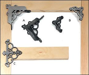 Victorian Screen Door Hardware  Elegant and solid, these corner braces and brackets have been reproduced from items in our hardware collection.  Cast in steel using a lost-wax process, they have well-defined edges without the flash of sand castings. The face of each piece is linished, and should be painted or lacquered before use. $16.80