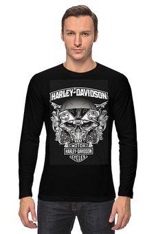 """Лонгслив """"Харлей Дэвидсон мотор"""" - череп, мото, байк, харлей"""