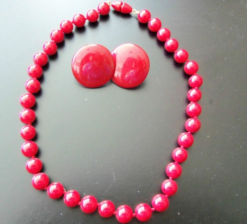 Womens Red Necklace and Red Earrings Plastic Beads Pierced Earrings | eBay