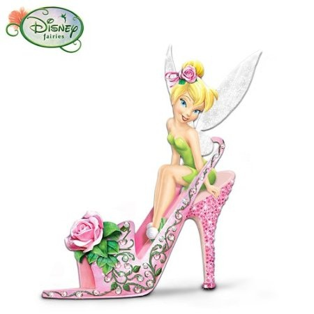Disney Tinker Bell Rose Petal Pixie Collectible Shoe Figurine By The Hamilton