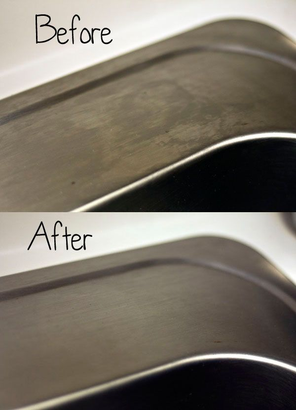 Polish STAINLESS STEEL with Flour... And it only takes one ingredient.   Yes. It's flour. Imagine that.  Your sinks and stainless steel should be free of all those weird stain-looking marks stainless (ha!) steel sometimes takes on.