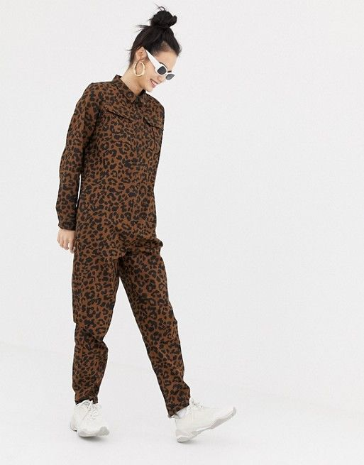 ccb2403725 Daisy Street button through boiler suit in leopard print in 2019 ...