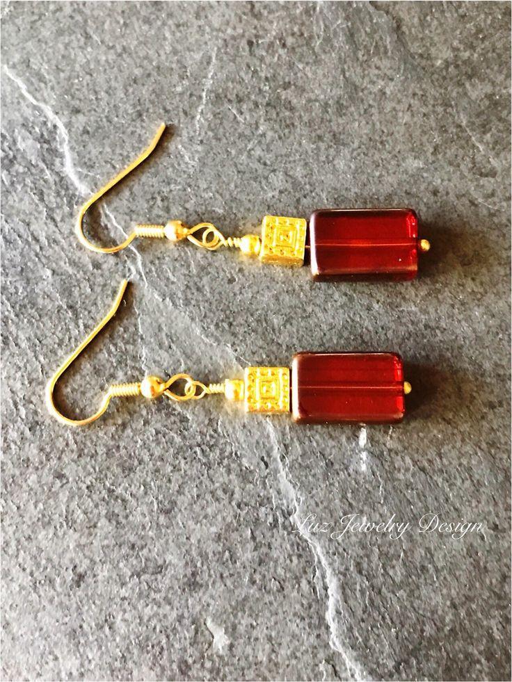Square orange earrings Red orange earrings orange gold earrings red gold earrings red square earrings deep orange earrings deep orange glass