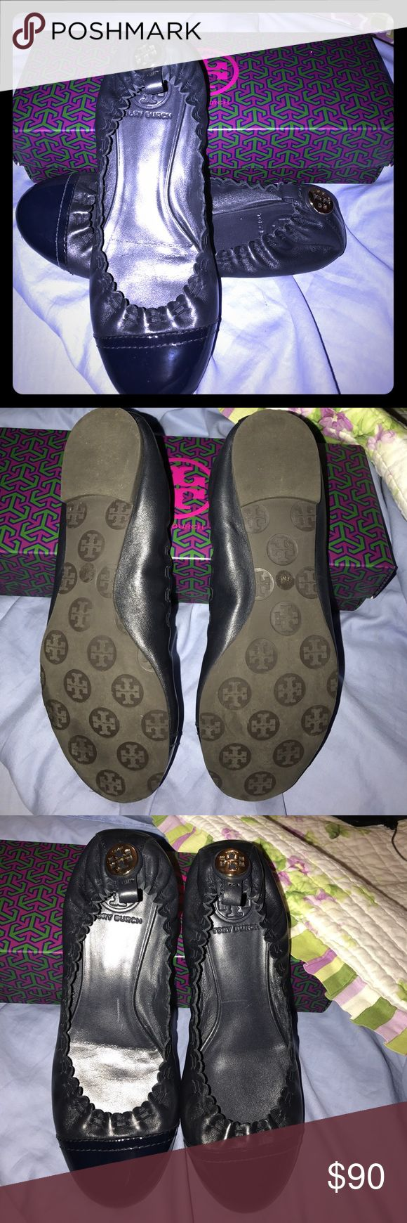 Tory Burch Navy Ballet flats Gorgeous Flats In like new condition worn once but I need a half size bigger. Not the original box but will include this box if desired. :) no lowball offers please. Tory Burch Shoes Flats & Loafers