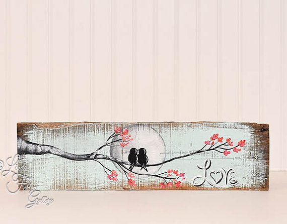 Love Birds Wood Sign Wedding Gift For Rustic 5th Anniversary Engagement Mint Art