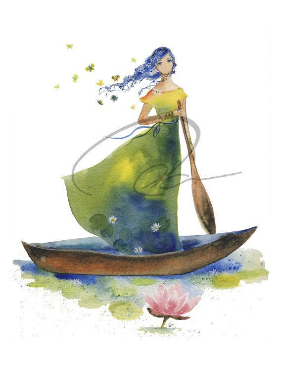 Daydream Believer - Watercolor Art Print woman rowing a boat flower hair lillies Lady of Shallot 5x7, 8x10, 11x14 & 16x20 Oladesign