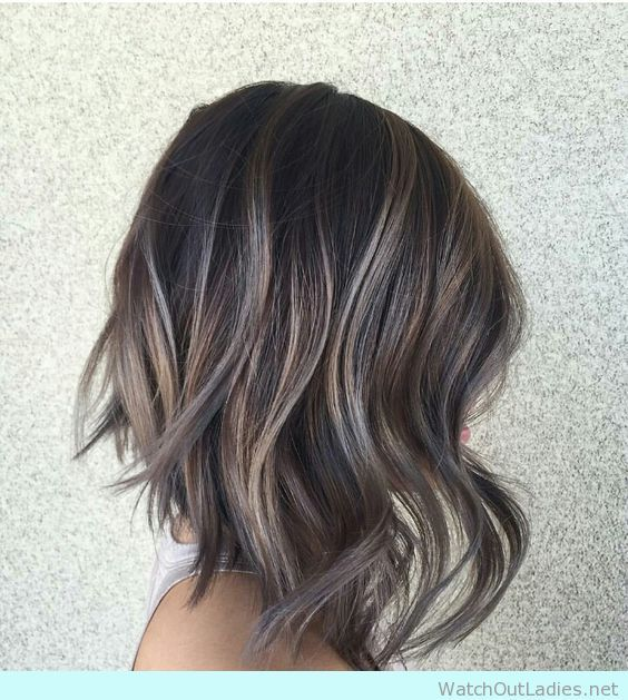 Asymetrical  lob with soft curls with ash highlights