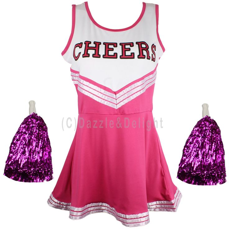CHEERLEADER FANCY DRESS OUTFIT UNIFORM HIGH SCHOOL MUSICAL COSTUME WITH POM POMS | eBay