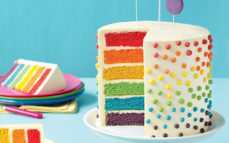 "Is there anything more appealing than a myriad of bright colors? These vibrant layers scream ""let's celebrate!"" The soft buttercream frosting hints at a surprise that children and adults alike will enjoy. This is a deceptively easy cake to create—simply set aside the time to tint and bake the layers."