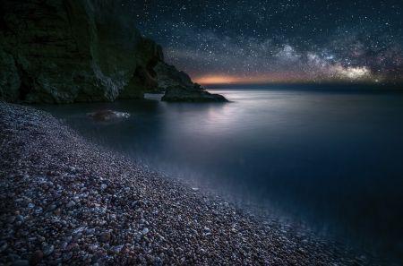 Tejút a tenger felett - Strandok, tenger, ég, Tejút, óceánok, csillag, Moonlight, Nature