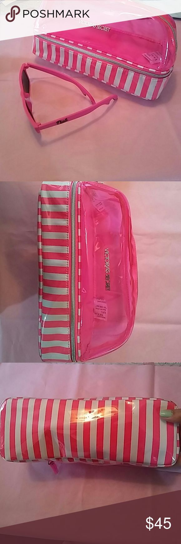NWT VS MAKEUP BAG/ORGANIZER/TRAVEL BAG This bag is so convenient and cute, not to mention extremely roomy! It's very beachy ?? the whole top zips off as shown in the 7th picture. It even has a mirror in there for on the go applications! You could fit a hair straightener or curling iron in there if you wanted to! (Don't forget your thermal case though!) the top is a cool see through hot pink which also zips open as shown in 4th picture. If it were me I'd throw makeup in there perhaps! So many…