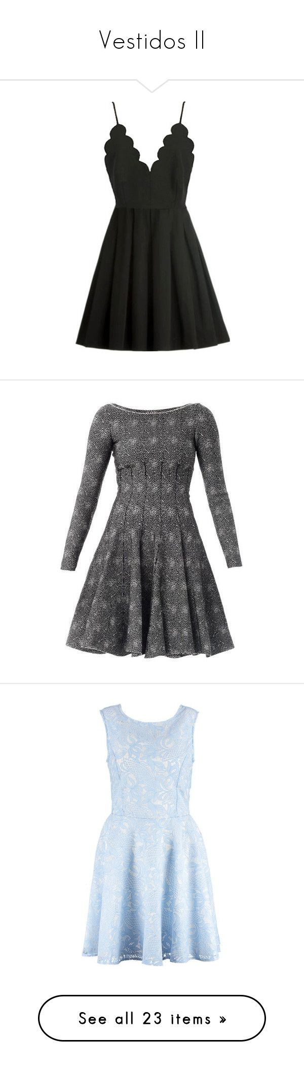 """Vestidos II"" by barbarapalvine22 ❤ liked on Polyvore featuring dresses, vestidos, zip back dress, pleated a line dress, scallop trim dress, back zipper dress, spaghetti strap dress, black, polka dot skater skirt and spotty dress"