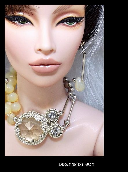 UNABRIDGED - Ooak Unique Crystal Jewelry for 1:4 Scale Dolls Like Tonner Antoinette, Tyler, Cami, FR16 inch, Jamieshow, Gene-Free Shipping!