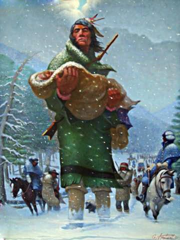 George Hudson carrying his Mother on the Trail of Tears in the winter of 1831-32, by Garland Neal Taylor