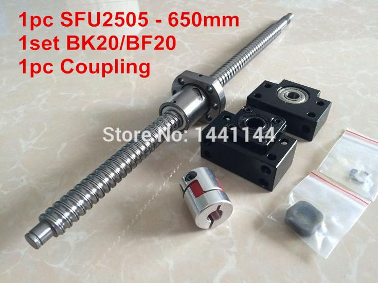 1pc SFU2505- 650mm ballscrew with ball nut + BK20/BF20 Support + 17*14mm Coupling, according to BK20/BF20 end machined CNC Parts
