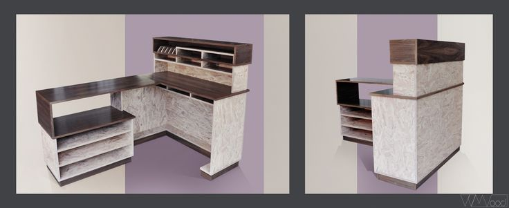 Retail store furniture  by V V Wood // desk // walnut wood and white OSB