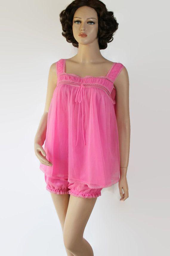 6a3ceb5096 60s Pajamas   Babydoll   Pin Up   Bombshell   Pink   Bubble Pants   Gotham