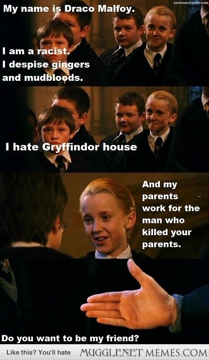 That was the most compelling pitch from Malfoy asking Harry to be friends with him. I really wonder why Harry didn't take him up on his offer?
