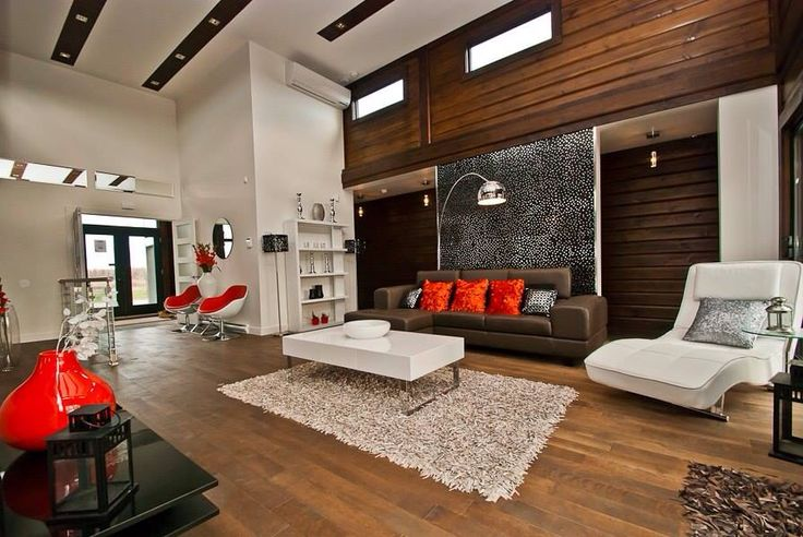 From our Contemporary Series, this is the living room  in one of our Sonoma models. Our contemporary homes have the clean line distinction, open spaces, but always built with the warmth of wood-and of course, high energy efficiency is standard with every home we build. www.timberblock.com