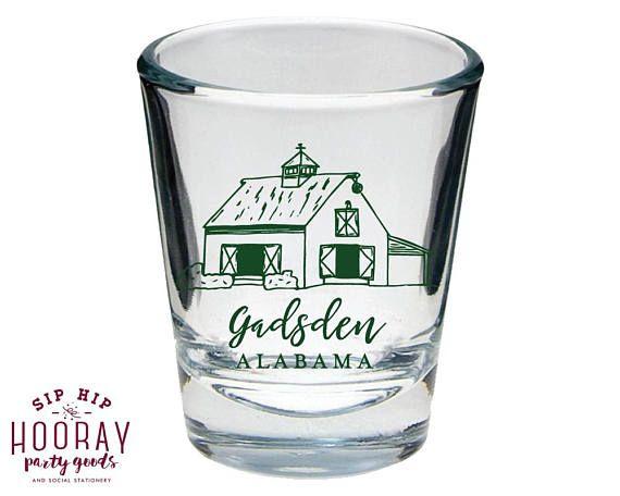 Barn Wedding Shot Glasses Rustic Shot Glass Country Wedding Fall Wedding Shot Glasses Custom Shot Glass Wedding Shot Glasses 1766 by SipHipHooray