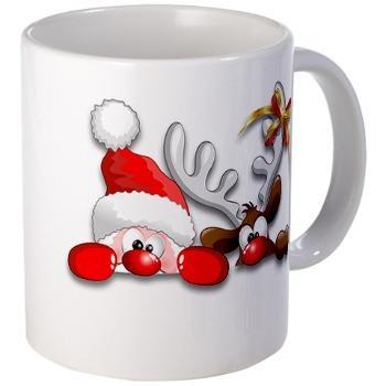 Funny Santa and Reindeer Cartoon Mug