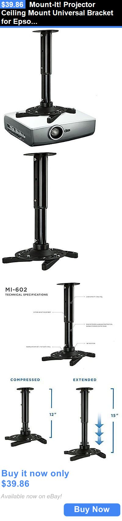 Projector Mounts and Stands: Mount-It! Projector Ceiling Mount Universal Bracket For Epson, Benq, Optoma, ... BUY IT NOW ONLY: $39.86