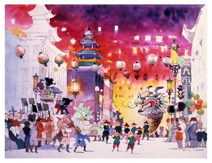 Chinatown San Francisco Festival, watercolor by Dong