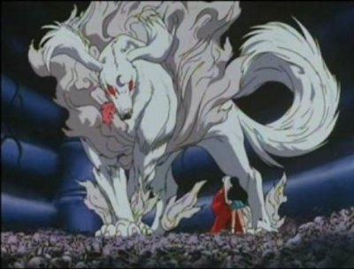 Lord Sesshomaru in his true from as a dog demon in front of InuYasha and Kagome - screenshot from InuYasha
