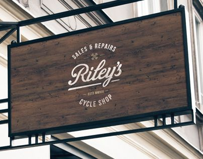 Riley's Cycles - Beautiful, simple brand identity with fave typeface Bebas Nue
