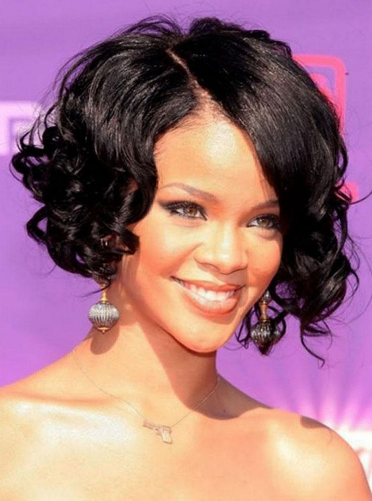 Bob Hairstyles For Black Women tia mowrys blunt bob and bangs is a haircut full of bold choices and can help balance out a heart shaped face or larger forehead Short Bob Hairstyles Black Women Wavy Nice Curly Bob Hairstyles For Black Women Hairstyles Pinterest Curly Bob Hairstyles Curly Bob And Short Bobs