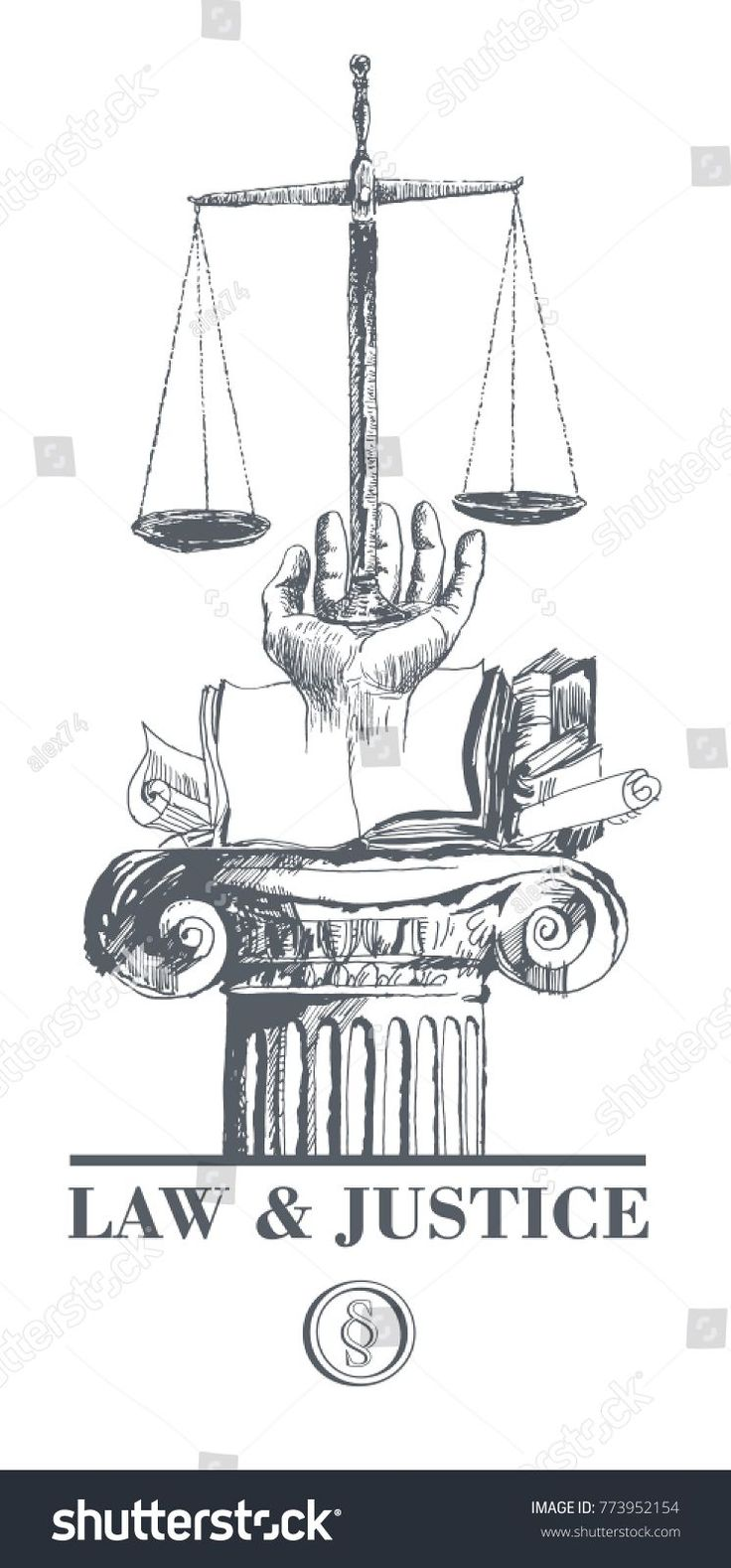 Law justice set law book hand stock vector royalty free