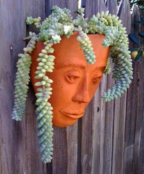 Awesome ceramic face planter - Jane Sattler of Laguna Beach's Sawdust Festival