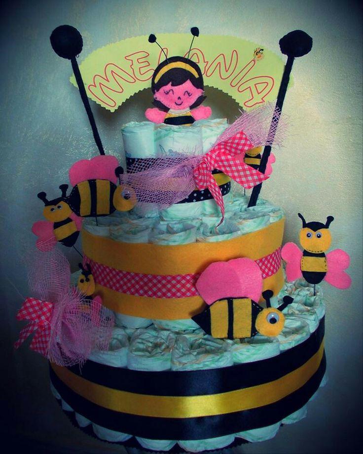 Diaper cake tema api - bee diaper cake