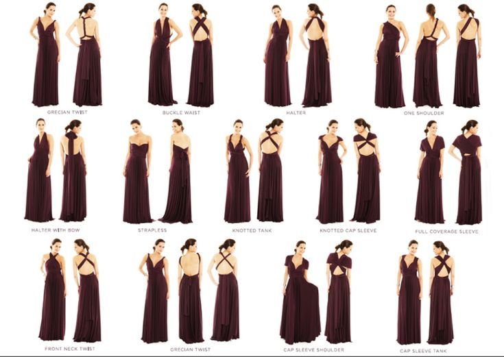 2 Birds bridesmaid dress can be wrapped 15 ways...here are the different styles...our color is Windsor Blue, which you can see in a pin further down on the board.