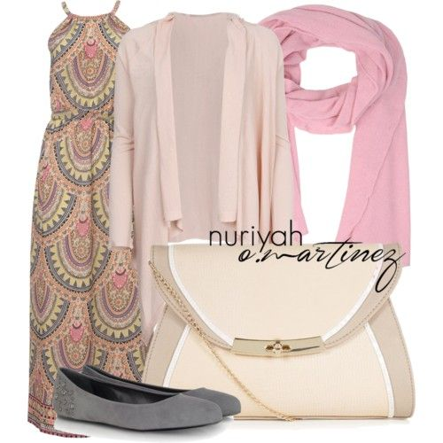 Hijab Outfit by Nuriyah O. Martinez      Accessorize cocktail dress €40-accessorize.com   Dolce Gabbana long pink cardigan €275-profilefashion.com   McQ by Alexander McQueen gray suede flat €170-forzieri.com   Color block purse €8,31-newlook.com   Stefanel cashmere shawl €135-yoox.com