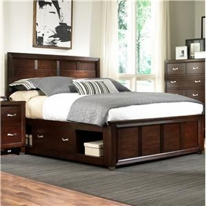 BROYHILL FURNITURE EASTLAKE 2 QUEEN CAPTAINu0027S BED WITH SINGLE STORAGE SIDE  RAIL