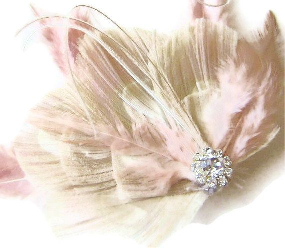 Pink Champagne Ivory Peacock Jeweled Bridal Peacock by maggpieseye, $27.00