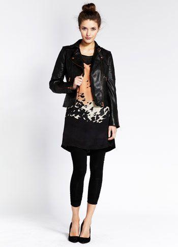 Olive Print Silk Front Dress mint velvet