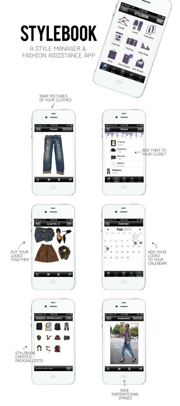 The StyleBook app is the closest thing in real life to Cher's (Clueless) closet organizing software. -- I have it and it is absolutely awesome! Putting clothing in a little every day and getting new outfit ideas and saving them.