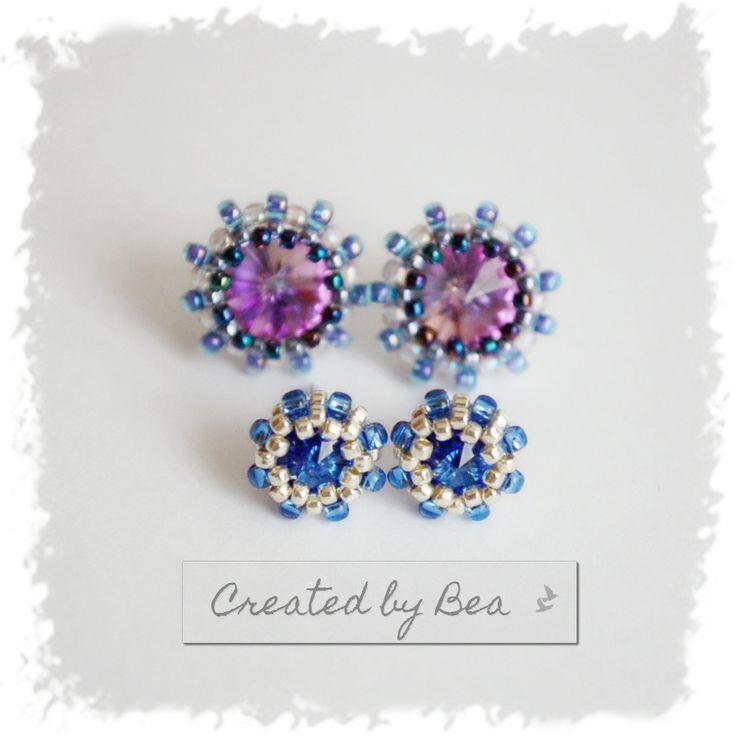 Sapphire rivoli 6 mm. I'm proud of these micro-earrings :-) http://createdbybea.blogspot.cz/